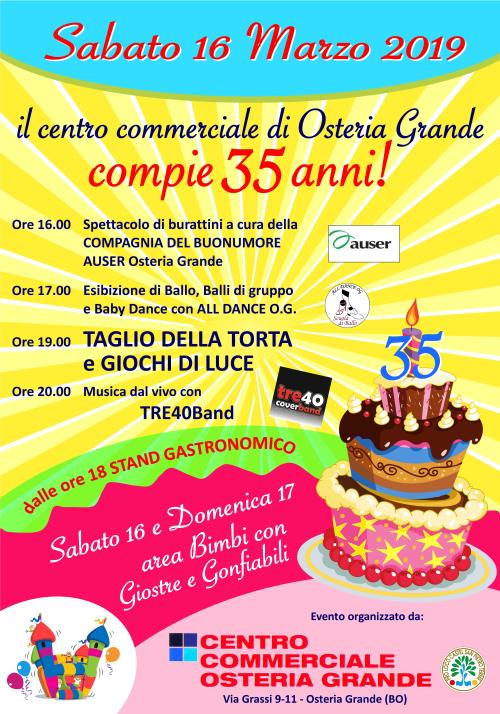 Sabato 16 Festa per i 35 anni del Centro Commerciale di Osteria Grande
