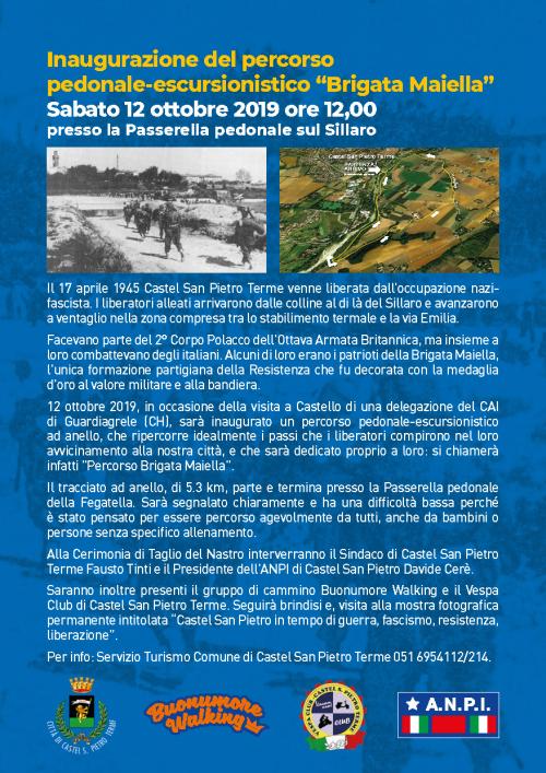 """Sabato 12 inaugurazione del percorso """"Brigata Maiella"""""""
