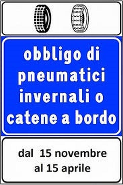 Dal 15 novembre obbligo di circolazione con pneumatici invernali o catene a bordo